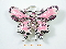Pink Jeweled Butterfly  Enameled Pewter Belt Buckle