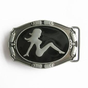 Scrolled Edge Naked Lady Silhouette Belt Buckle